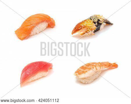 Set Of 4 Sushi Isolated On White. Salmon - Sake, Eel - Unagi, Prawn - Ebi, Tuna - Maguro Sushi Set
