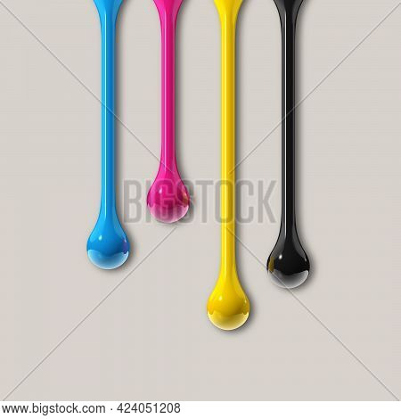 3d Cmyk Ink Drops Isolated On Grey Paper Background. Square Wallpaper. Illustration