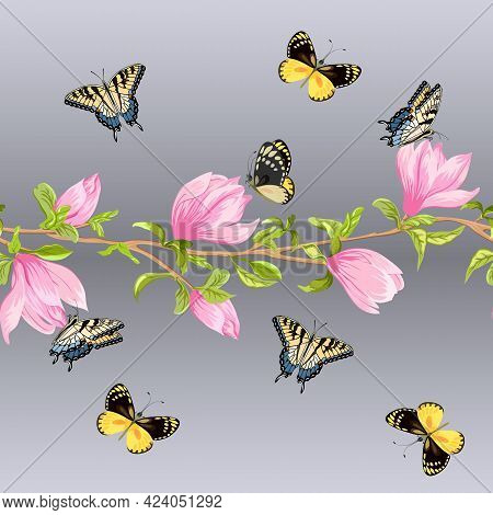 Magnolias And Butterflies In A Pattern.blooming Magnolias And Colorful Butterflies On A Colored Back