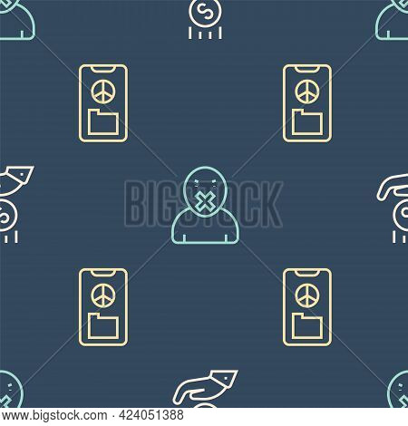 Set Line Coins On Hand - Minimal Wage, Peace And Censor Freedom Of Speech On Seamless Pattern. Vecto