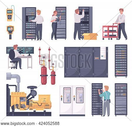 Datacenter Cartoon Set With Isolated Icons Of Server Racks Cabinets And Cooling System With Technici