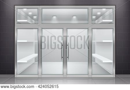 Glass Door Entrance Realistic Composition With Front View Of Store Entrance With Empty Shelves And L