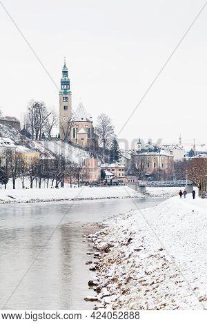 Salzach River.  A Mid Winter View Along The Salzach River In Salzburg, Austria.  In The Background C