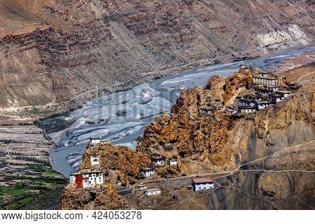 Dhankar Monastery and village in Himalayas, Spiti Valley, Himachal Pradesh