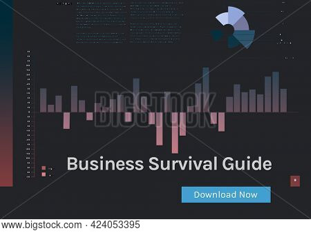 Composition of business survival guide and download now text, with graph on black. business and marketing guide design template concept digitally generated image.