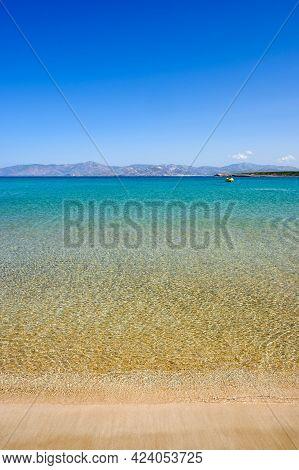 Santa Maria Beach With Crystal Clear Water And Soft Sand. Paros Island, Cyclades, Greece