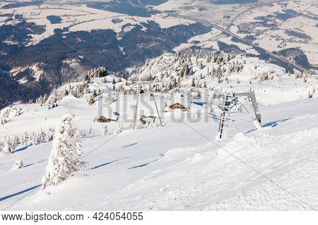 Untersberg Summit.  Looking From The Summit Of Untersberg Mountain In Austria Towards A Ski Lift.  T