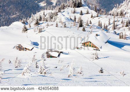 Untersberg Summit.  Looking From The Summit Of Untersberg Mountain In Austria Towards Chalets Below.