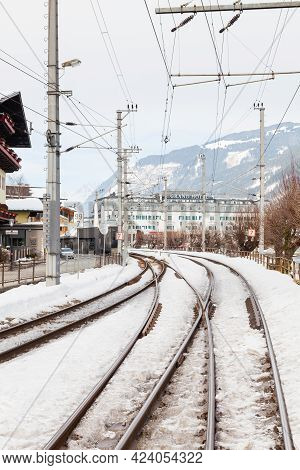 Zell Am See, Austria - March 1:  The View Along A Snow Covered Railway Track In The Town Of Zell Am