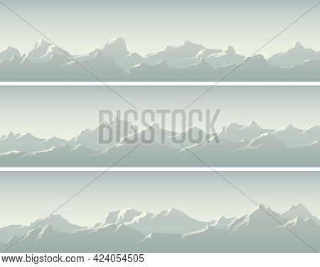 Set Of Vector Horizontal Simple Banners With Snowy Mountain Ranges.