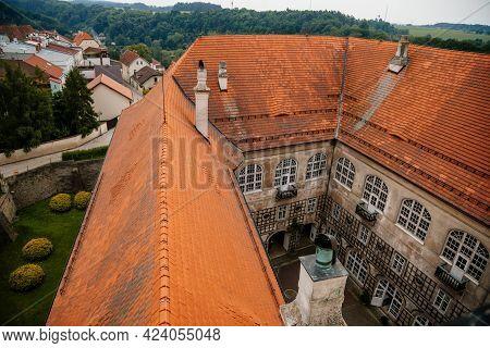 Baroque Romantic Castle Nove Mesto Nad Metuji, Renaissance Chateau, Red Tile Roof, Courtyard, Wooden