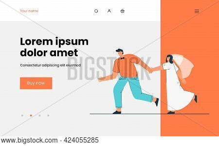 Happy Bride And Groom Running, Holding Hands. Flat Vector Illustration. Cartoon Woman In White Dress