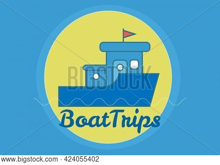 Composition of boat trips text, with boat and sun design on blue. holiday and travel guide design template concept digitally generated image.