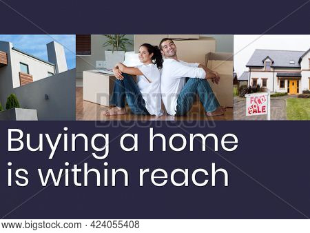 Composition of house buying text in white, with smiling couple and sold house on dark blue. property and finance guide design template concept digitally generated image.