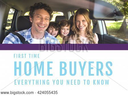 Composition of house buyers text in blue, with smiling family in car, on white. property and finance guide design template concept digitally generated image.