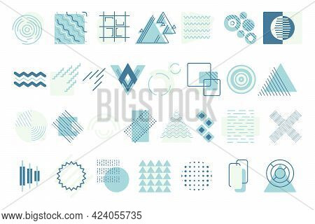 Large Isolated Vector Geometric Shapes. Various Round, Square And Triangular Abstract Forms. Element