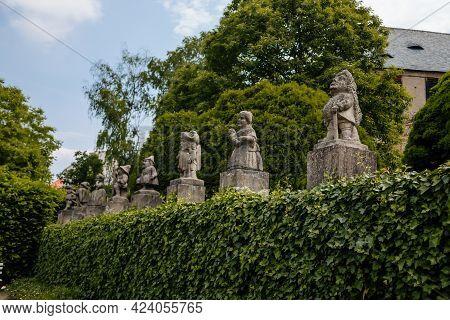 Baroque Statues Of Dwarves, Romantic Castle Nove Mesto Nad Metuji With Park, Renaissance Chateau Wit