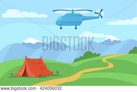 Helicopter Flying Over Tent Standing On Forest Path. Cartoon Vector Illustration. Picturesque Mounta