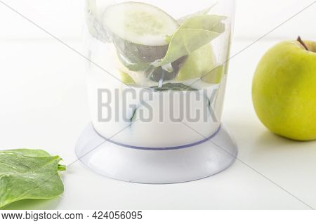 Step By Step Green Smoothie Recipe. Step 1 Add Soy Milk To Blender With Apple, Cucumber, Spinach. Ho