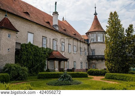 Baroque Romantic Castle Nove Mesto Nad Metuji, Italian Garden, Renaissance Chateau With Small Round