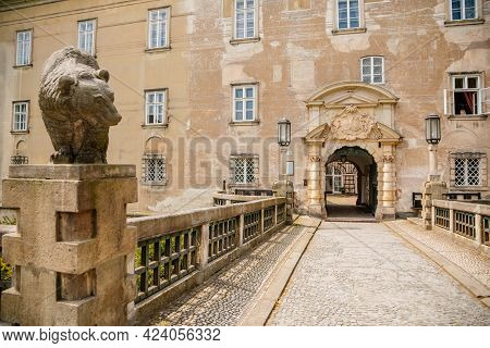 Baroque Romantic Castle Nove Mesto Nad Metuji, Renaissance Chateau, Stone Bridge And Carved Lanterns