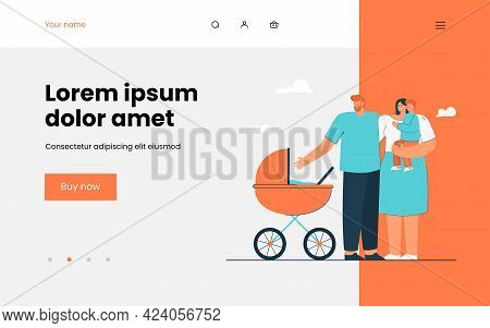 Young Parents Walking With Little Children. Flat Vector Illustration. Mom Holding Their Son In Her A