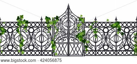 Iron Wrought Gate Vector Old Metal Fence Seamless Border, Steel Garden Ornament Door, Ivy Leaf, Clim