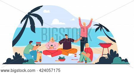 Happy Men And Women Having Picnic On Beach. Group Of People Drinking, Eating, Having Lunch Outside O