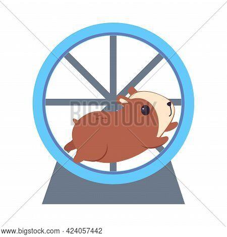 Cute Hamster Running In Jogging Wheel, Adorable Funny Pet Animal Character Cartoon Vector Illustrati