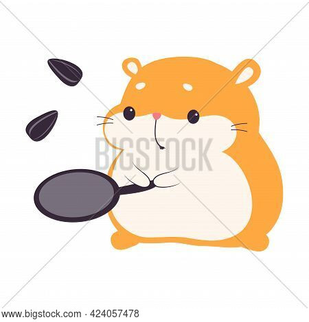 Cute Hamster Frying Seeds In Frying Pan, Adorable Funny Pet Animal Character Cartoon Vector Illustra