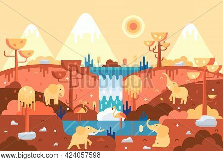 Four Elephants In Flat Cartoon Stile - Panorama With Animals Near Water, Africa Landscape