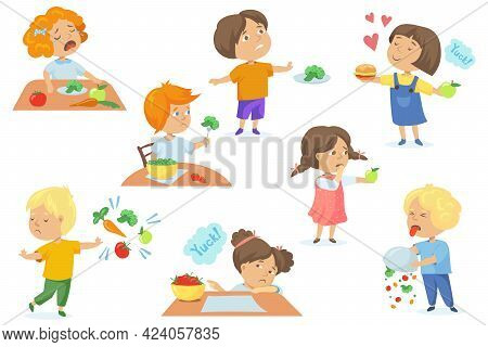 Set Of Children Unhappy With Food. Cartoon Vector Illustration. Fussy Hungry Kids Crying And Rejecti