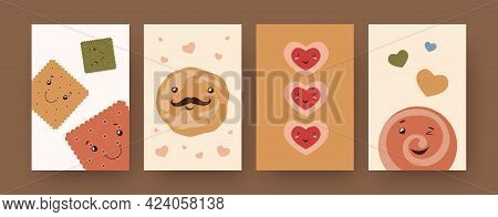 Collection Of Contemporary Art Posters With Crackers And Cookies. Cute Biscuit Characters Of Differe