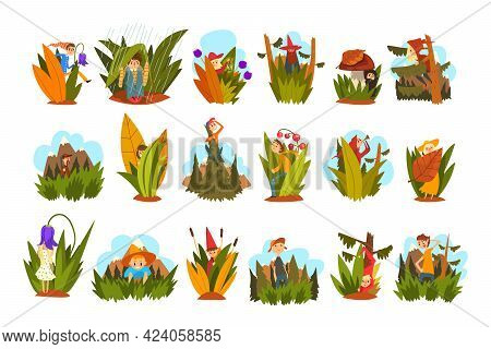 Woodland Scenes With People And Plants Set, Boys And Girls In Beautiful Natural Landscape Cartoon Ve