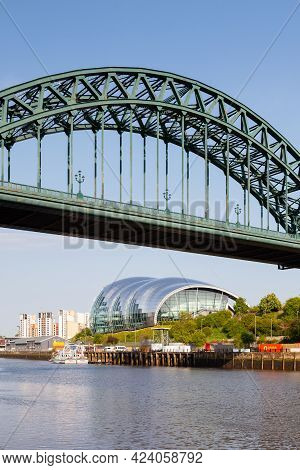 Gateshead, England - May 21, 2018:  The Landmark Sage Viewed From Beneath The Tyne Bridge In Newcast