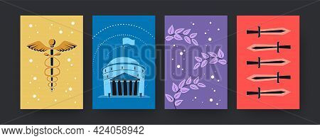 Set Of Contemporary Art Posters With Ancient Rome Symbols. Vector Illustration. .collection Of Color