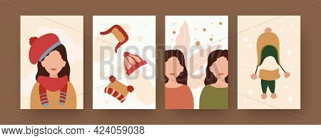 Set Of Contemporary Art Posters With Women And Warm Clothes. Female Character Wearing Woolen Cap And