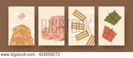 Set Of Contemporary Art Posters With Bales Of Hay And Straw. Haystack, Wooden Fences Cartoon Vector