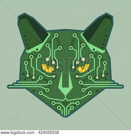 Serious Muzzle Of A Cat Stylized As A Microcircuit. Cartoon Image Of A Chip For The Device. Vector I