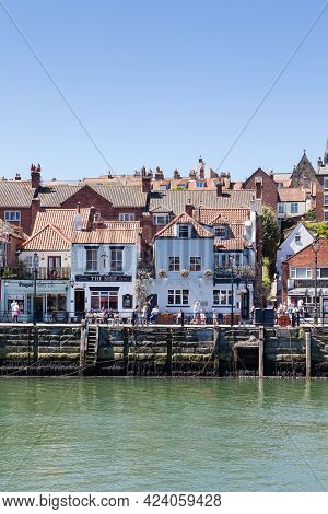 Whitby, England - June 25:  The Quayside Of The Seaside Town Of Whitby In Yorkshire, Northern Englan