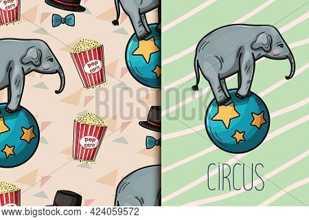 Elephant Show. Circus Show Vector Seamless Pattern.