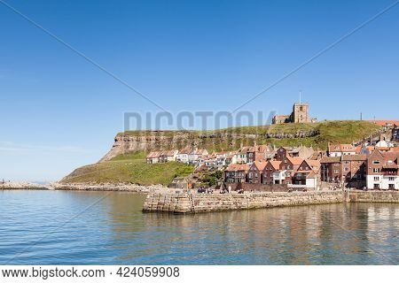 Whitby, England - June 25:  The View Across The River Esk In The Town Of Whitby In North Yorkshire,