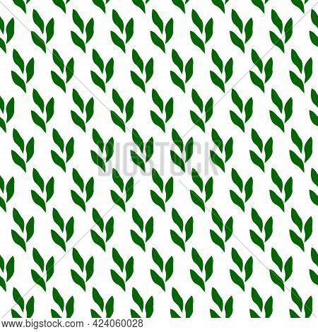 Simple Pattern With Green Leaves. Vector Illustration. For Use In Prints, Packaging, Fabrics, The Fa