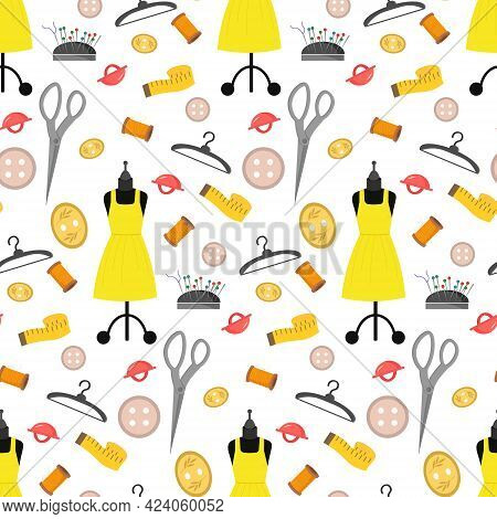 Pattern With Mannequin, Yellow Dress, Centimeter, Buttons And Sewing Tools. Vector Illustration Isol
