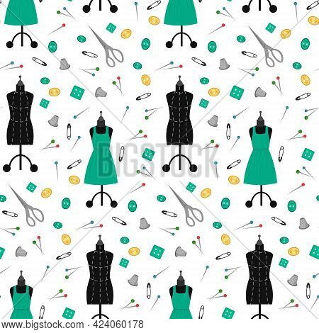 Pattern With Mannequins, Dress, Scissors And Sewing Tools. Vector Illustration Isolated On White Bac