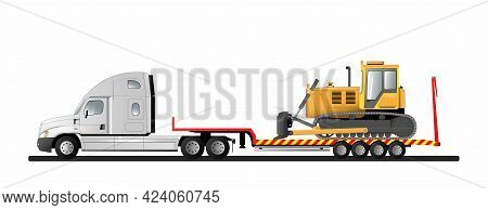Image Of A Modern American Low Loader Semi-trailer With Cargo. Goose Bulldozer. Transportation Of Co