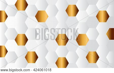 Gold And White Honey Hexagonal Cells Texture. Mosaic Or Speaker Fabric Shape Pattern. Technology Con