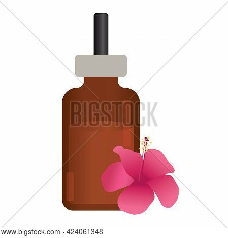 Spa Massage Oil Bottle With Exotic Flower. Spa Concept.