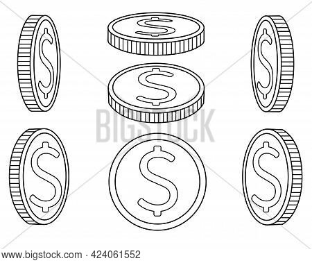 Coins. A Set Of Coins From Different Angles. Abstract Or Game Money Drawn From Different Sides - Vec