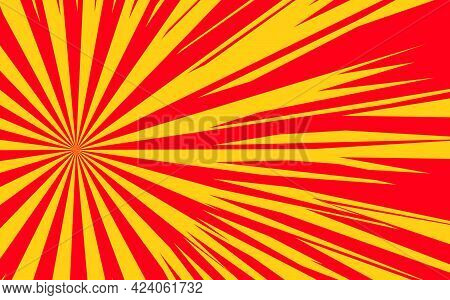 Pop Art Radial Colorful Comics Book Magazine Cover. Striped Red And Yellow Digital Background. Carto